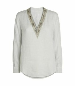 120% Lino V-Neck Embellished Top