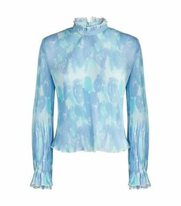GANNI Pleated Floral Top