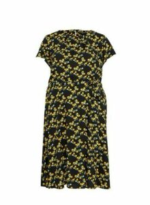 Womens Billie & Blossom Curve Black Orange Print Dress, Black