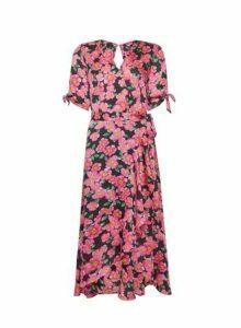 Womens Billie & Blossom Smudge Floral Print Wrap Dress - Black, Black