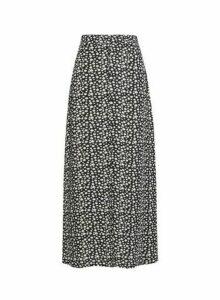 Womens Only Black Daisy Print Maxi Skirt, Black