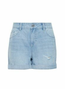 Womens Lightwash Boy Shorts - Blue, Blue
