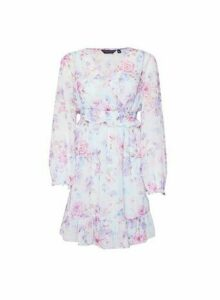 Womens Multi Colour Floral Print Chiffon Wrap Fit And Flare Dress - Green, Pink