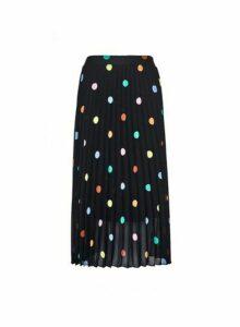Womens Black Multi Spot Print Pleated Midi Skirt, Black