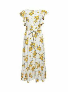 Womens Ivory Ruffle Sleeve Midi Dress - White, White