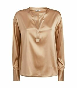 Peserico Silk Bead-Trim Blouse