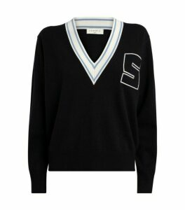 Sandro Paris Contrast-Trim Initial Sweater