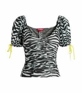 Staud Ruched Zebra Top
