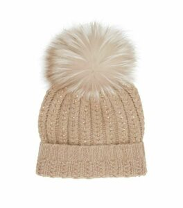 William Sharp Cashmere Crystal Pom Pom Hat