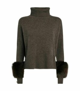 Izaak Azanei Fox-Trim Rollneck Sweater