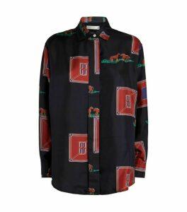 Victoria Beckham Oversized Silk Horse Print Shirt