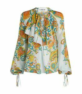 LANVIN Printed Ruffle Silk Blouse
