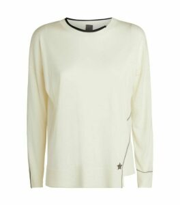 Lorena Antoniazzi Star Appliqué Wool-Silk Sweater