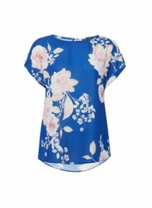 Womens Cobalt Floral Print Photographic T-Shirt, Cobalt