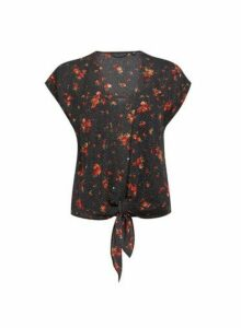 Womens Black Spot And Floral Print 2-In-1 Top, Black