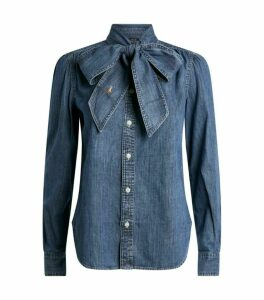 Ralph Lauren Tie-Neck Denim Shirt