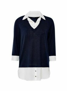 Womens Navy V-Neck 2-In-1 Top - Blue, Blue