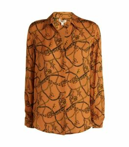 L'Agence Silk Nina Chain Print Blouse