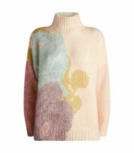 Valentino Printed Mohair-Blend Sweater