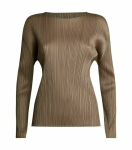 Pleats Please Issey Miyake Pleated Long-Sleeved Blouse