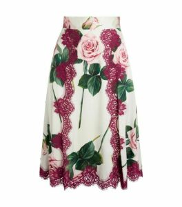 Dolce & Gabbana Lace-Trim Floral-Print Skirt