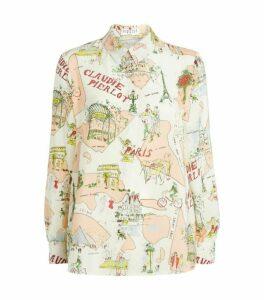 Claudie Pierlot Paris Print Silk Shirt