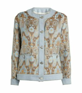 Sandro Paris Brocade Denim Jacket