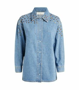 Sandro Paris Embellished Denim Shirt