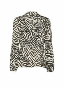 Womens Cream Zebra Print Wrap Top, Cream