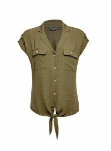 Womens Khaki Tie Front Shirt, Khaki