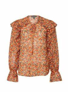 Womens Orange Floral Print Tie Neck Top, Orange