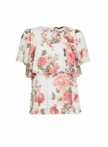 Womens Ivory Floral Print Tiered Top, Ivory
