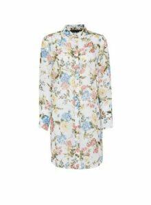 Womens White Floral Print Longline Chiffon Shirt, White