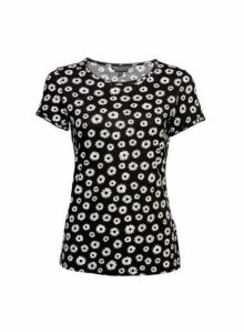 Womens Monochrome Daisy Pique Trim Crew Neck T-Shirt - Black, Black