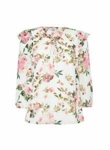 Womens Dp Tall Multi Colour Floral Print Ruffle Detail Blouse - White, White