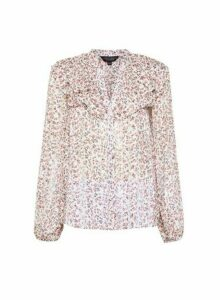 Womens Multi Colour Floral Print Chiffon Ruffle Top - White, White
