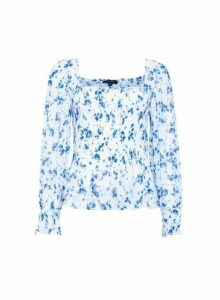 Womens Blue Floral Print Mesh Top, Blue