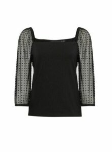 Womens Black Dobby Mesh Square Neck Top, Black