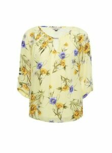Womens Billie & Blossom Lemon Floral Print Trim Blouse - Yellow, Yellow