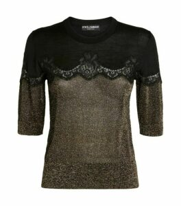 Dolce & Gabbana Metallic Lace Sweater