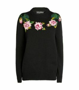 Dolce & Gabbana Tropical Rose Knit Sweater