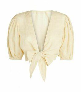 Lisa Marie Fernandez Tie-Front Cropped Blouse