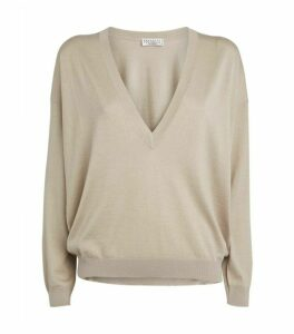 Brunello Cucinelli Metallic V-Neck Sweater