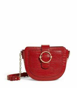 Claudie Pierlot Croc-Embossed Leather Saddle Bag
