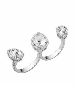Atelier Swarovski White Gold and Topaz Lola Double Ring