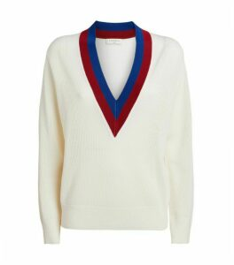 Sandro Paris Wool-Cashmere Striped Collar Sweater