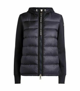 Moncler Quilted Zip-Up Hooded Cardigan