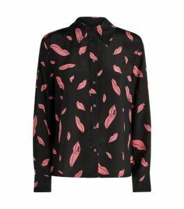 DVF Diane von Furstenberg Lip Print Shirt