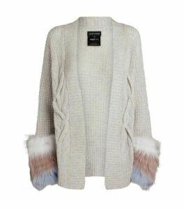 Izaak Azanei Cable Knit Fur Trim Cardigan