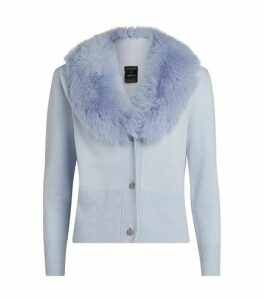 Izaak Azanei Wool-Cashmere Fur Trim Cardigan